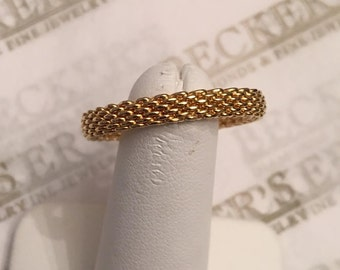 Vintage 18k yellow gold Tiffany & Co Thin Somerset Mesh Band Ring, size 12, 4mm wide version