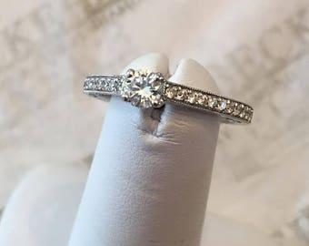 Vintage 14k white gold 23 Round Diamond Filigree & Milgrain Engagement Ring, .45 tw, FGHI-SI1,2, size 6.5