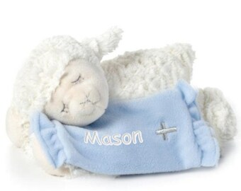 Personalized Baptism Gift - Lay Me Down To Sleep Lamb - Blue