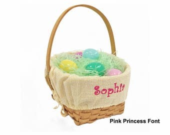 Personalized Woodchip Easter Basket - Yellow Gingham, Large