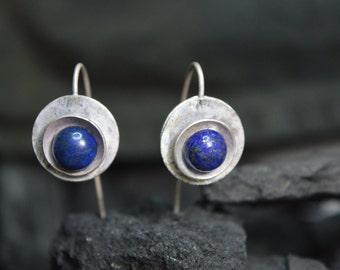 sterling silver earrings handmade, lapis lazuli earrings, natural stone, modern metalsmith earrings, 925, blue contemporay, long earrings