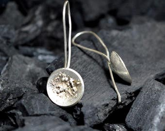 sterling silver earrings handmade,gometric contemporary modern metalsmith, minimalist earrings,unique design,japanese,circle,round,unique