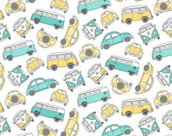VW Beetle Fabric / Hipster On The Go Fabric / Bug Fabric / Punch Bug Fabric / VW Bus Yardage / Northcott 21417 / By The Yard and Fat Quarter