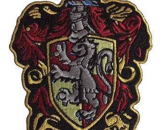 Harry Potter Gryffindor School Crest 4 1/2 Inch Tall Embroidered Iron On Patch Costume Accessory