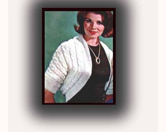 Shrug Knitted in One Piece and Sewn to Form Smart Bolero Shortie Sweater Vintage Knit Knitting Pattern Sizes 10 to 18