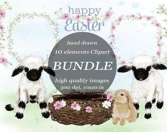 Happy Easter Clipart Bundle Farm Animal Easter Bunny Blacknose Sheep Clip Art Lamb Spring Scrapbook Goods Floral Wreath Easter Nest Print