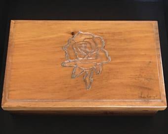 Vintage Wood Carved Rose Jewelry Trinket Box