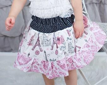 Little Girls Paris Twirl Skirt, Little Girls Paris Skirt, Paris Ruffle Skirt, Little Girls Paris Themed Skirt, Pink/Black Paris Ruffle Skirt