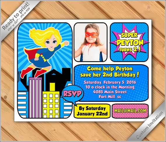 50 OFF SALE Printable Supergirl Photo Invitation DIY Superhero Birthday InvitationSuper Hero Invite Super Girl Blonde 6