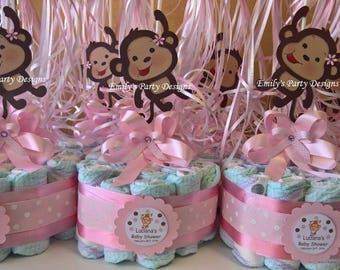 Pink Girl Monkey Baby Shower Diapers Centerpiece with balloons , Diaper cake, Monkey Centerpiece.