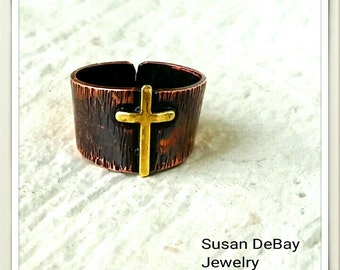 Textured Copper Ring with Brass Cross (Adjustable) Patinated