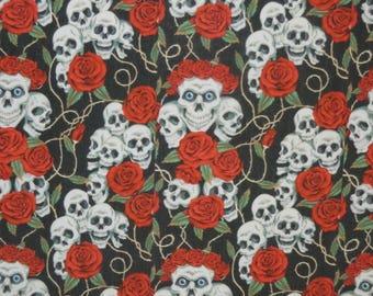 Skull and Rose Fabric 100% Cotton Fat Quarter