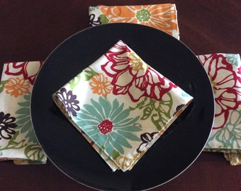 Marsala and Mustard Floral Napkins Set of 2 - Floral Table Linens - Print Reversible Cloth Napkins - Floral Cloth Napkins
