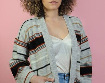 Vintage Striped Grey Cardigan Oversized Fit Sweater