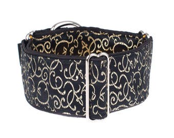 1,5 inch Martingale collar, 1.5 inch,  martingale dog collar, greyhound collar, whippet, black,gold,martingale