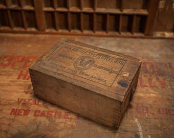 Vintage 1900s Rex AA High Speed Bits Dovetailed Wooden Box Crate Lid Crucible Steel Co. Rustic Storage Primitive Black Brown