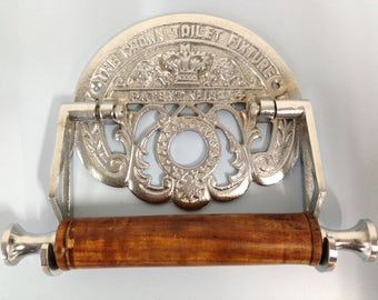 Vintage Style Crown toilet roll holder Cast Iron finished in Polished Nickel Chrome