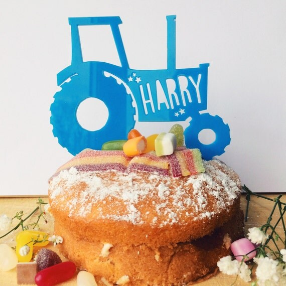 Personalised Cake Topper Tractor Multicoloured Cake