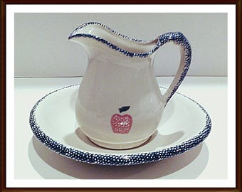 SSpongeware Pitcher with Plate for Use as a  Creamer Hot Butter or Syrup Pourer