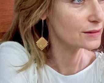 Sh-ma Yisrael earrings - Gold filled large earings - Bible verse earrings -
