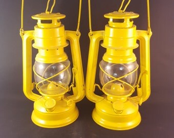Rustic Yellow Lanterns by Meva - Set of 2