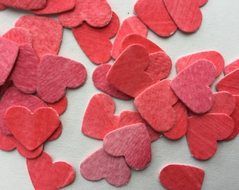 paper heart confetti, party decorations, Valentine's Day, watercolor, red