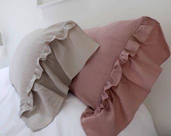 Linen Pillowcase, Ruffled Linen Pillowcase, Double Side Ruffle, Linen Bedding. Pair. Farmhouse decor, Shabby Chic