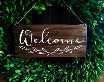 Welcome Sign   Welcome Door Sign   Door Sign   Door Hanger   Hanging Welcome Sign   Outdoor Sign   Wreath Sign   Outdoor Door Sign  