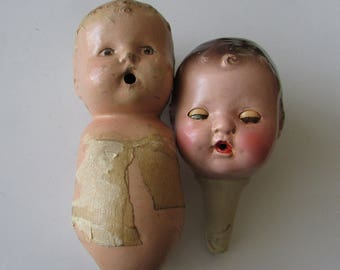 2 Vintage Doll Head Composition Ideal Compo Doll Parts