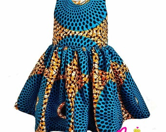 Circles Collection Blue & Gold  African Print Dress