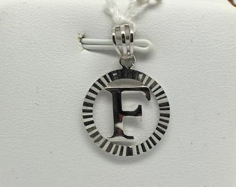 "18K White Gold Diamond Cut Initial ""F"" Pendant"