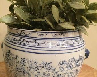 Beautiful Fine Porcelain Jardinere or Planter in Blue and White