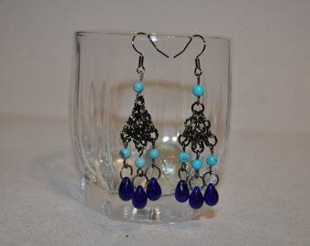 Valentine jewelry beaded chain earrings long Seed Bead earrings turquoise blue dangle modern statement boho short on sale rings drops