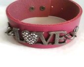 Pink Leather Cuff Bracelet, Silver Metal Diamond Love Sign, Statement Piece, Gift For Her, Sliver Lovers, Pink and Silver, Sexy Hot,Bold Fun