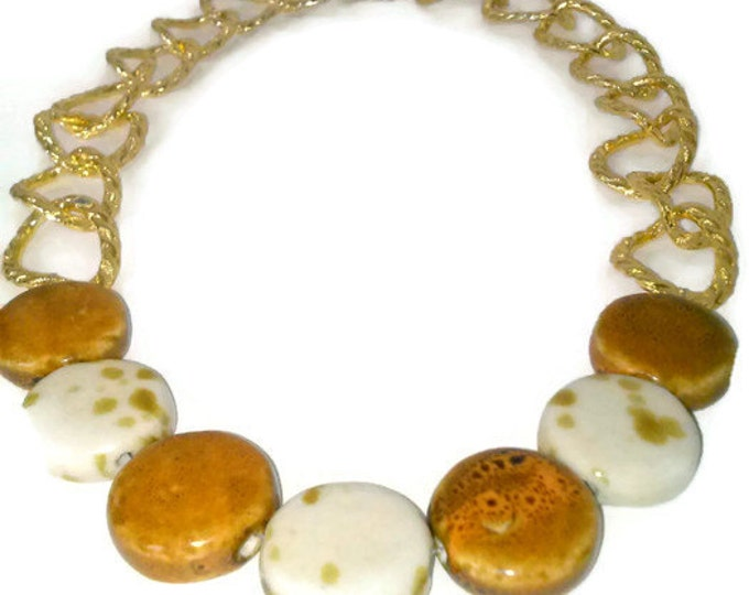 Gold Bead Necklace, Marble Bead Necklace, Mother's Day Gift, Large Bead, Statement Necklace, Chain Link, Retro, Chunky Bead, Gold and White