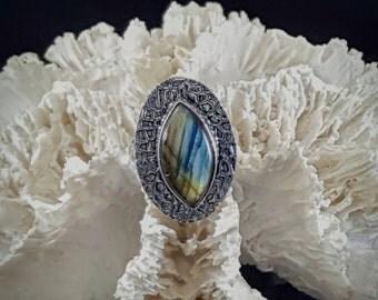 Labradorite Statement Ring - Size 8.5
