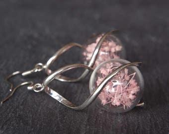 Pink flower earrings  Pressed flower earrings Glass terrarium earrings Bridal jewellery Gift for her Real flower Botanical jewelry mom gifts