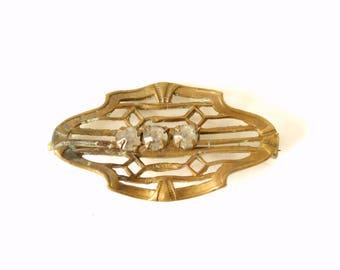 Vintage Victorian Brooch, Brass and Rhinestones, C Clasp