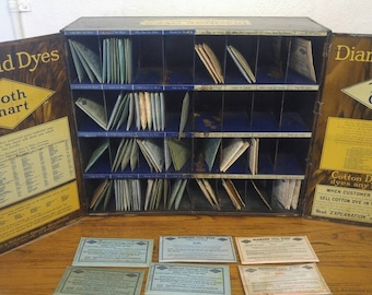 Antique Diamond Dyes Advertising Lithograph Tin Store Counter Top Display Case with 70+ Original Dye Packages