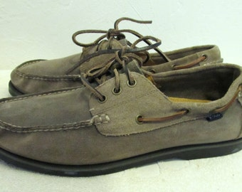 Men's Vintage 90's,Gray SUEDE Nautical BOAT Shoes By R.L.POLO.10.5