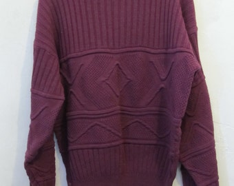 Marked Down 25%@@A Mens,Vintage 80's,BULKY Purple Cable Knit Avante Garde era Sweater By SATURDAYS.L