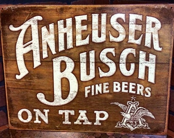 Vintage look Anheuser Busch tin sign