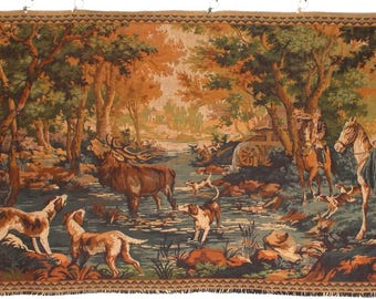 Large Vintage French Tapestry Wall Hanging. Stag, Water mill, Horses, Dogs.  Hunt.