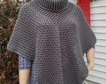 Crochet Cowl Neck Shawl Pattern One Size Fits Most DIGITAL DOWNLOAD ONLY