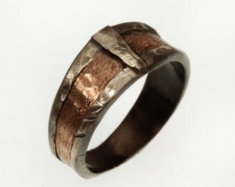 Boho Men's Wedding Band,  Rustic Copper Ring, Silver and Copper Ring, Wide Man's Band, 10 mm Copper Engagement ring, Textured Ring, RS-1162