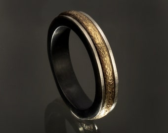 Sterling Silver Gold-field Men's Wedding Ring, Two Toned Men Wedding Band, Gold Silver man's Ring, Dainty Man's ring, RS-1183