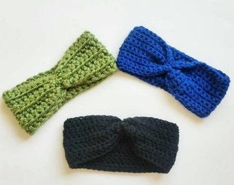 Custom Crochet Headwrap, Chunky Yarn Earwarmer, Adjustable Headwrap