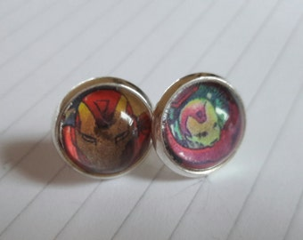 Recycled Comic Book 'Ironman' Comic Stud Earrings - Upcycled & Unique Comic Earrings