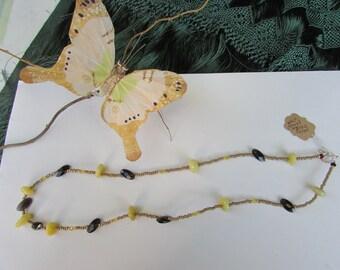 Smoky Topaz with Yellow Jade Necklace