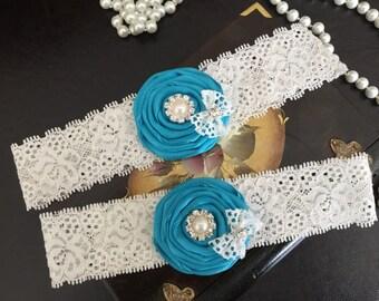 wedding garter set, turquoise bridal garter set, turquoise rolled rosette, lace bow, pearl/rhinestone